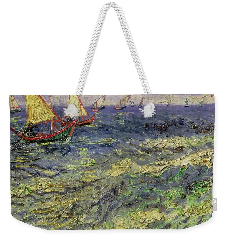 Yacht Weekender Tote Bag featuring the painting Seascape At Saintes-maries 1888 by Vincent van Gogh