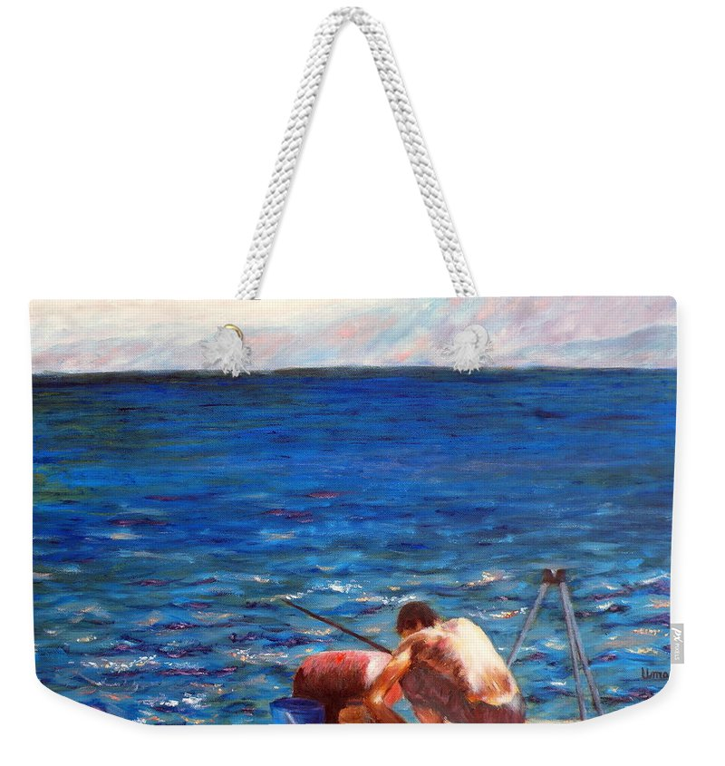 Man Getting Ready For Fishing Weekender Tote Bag featuring the painting Seascape Series 4 by Uma Krishnamoorthy