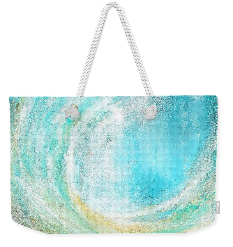 Seascapes Abstract Weekender Tote Bag featuring the painting Seascapes Abstract Art - Mesmerized by Lourry Legarde