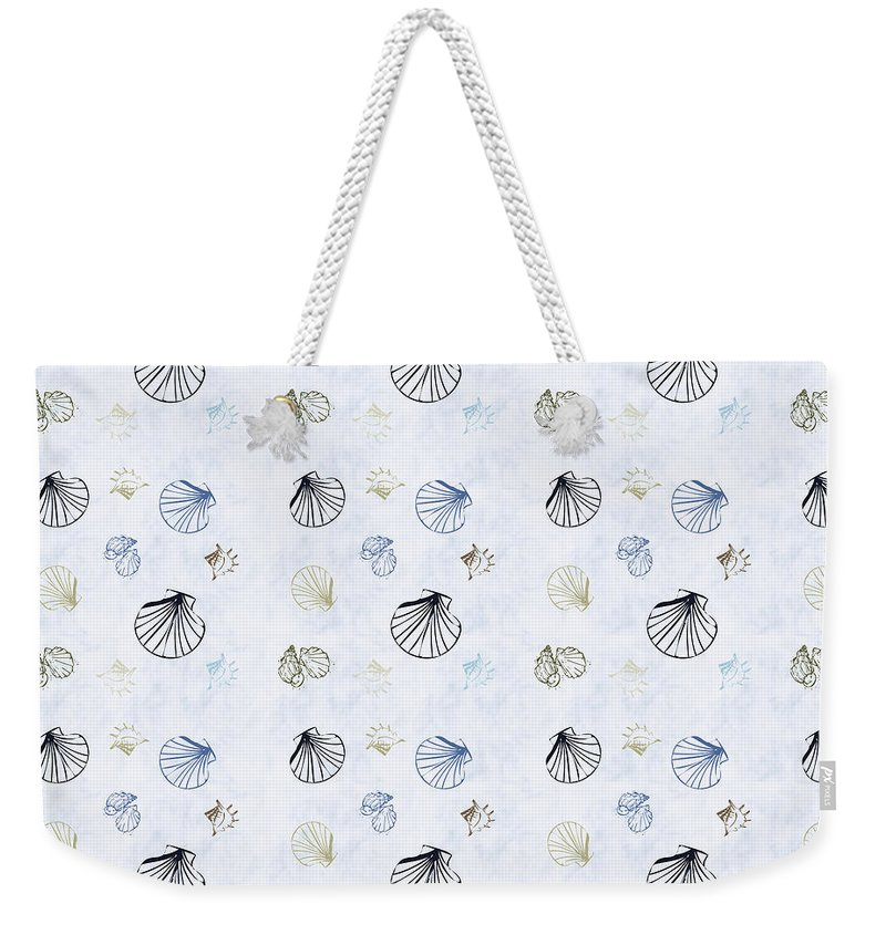 Seashell Weekender Tote Bag featuring the mixed media Seashell Pattern by Christina Rollo