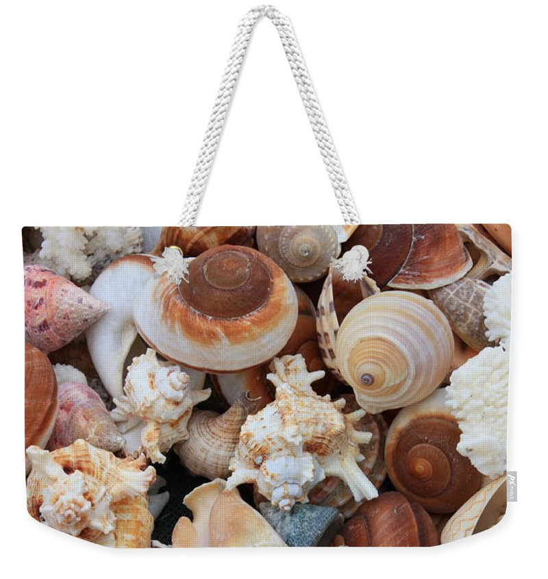 Shell Weekender Tote Bag featuring the photograph Seashells - Vertical by Carol Groenen