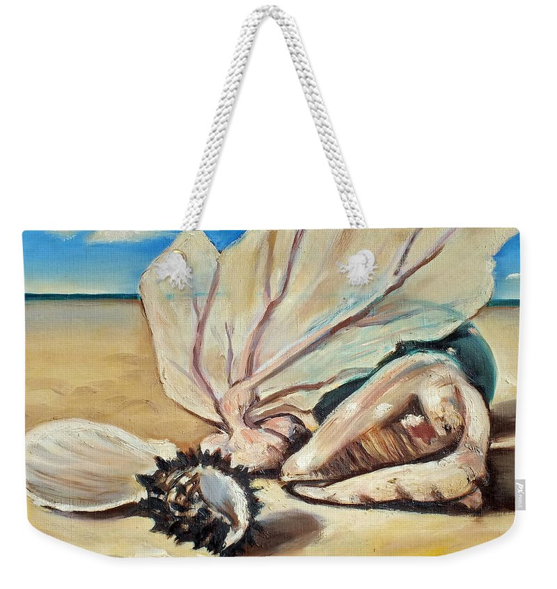 Chris Mccullough Weekender Tote Bag featuring the painting Seashore Shell Still Life by Chris McCullough