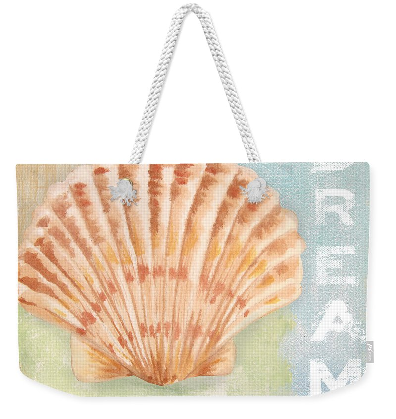 Nautical Weekender Tote Bag featuring the painting Seaside Retreat-d by Jean Plout