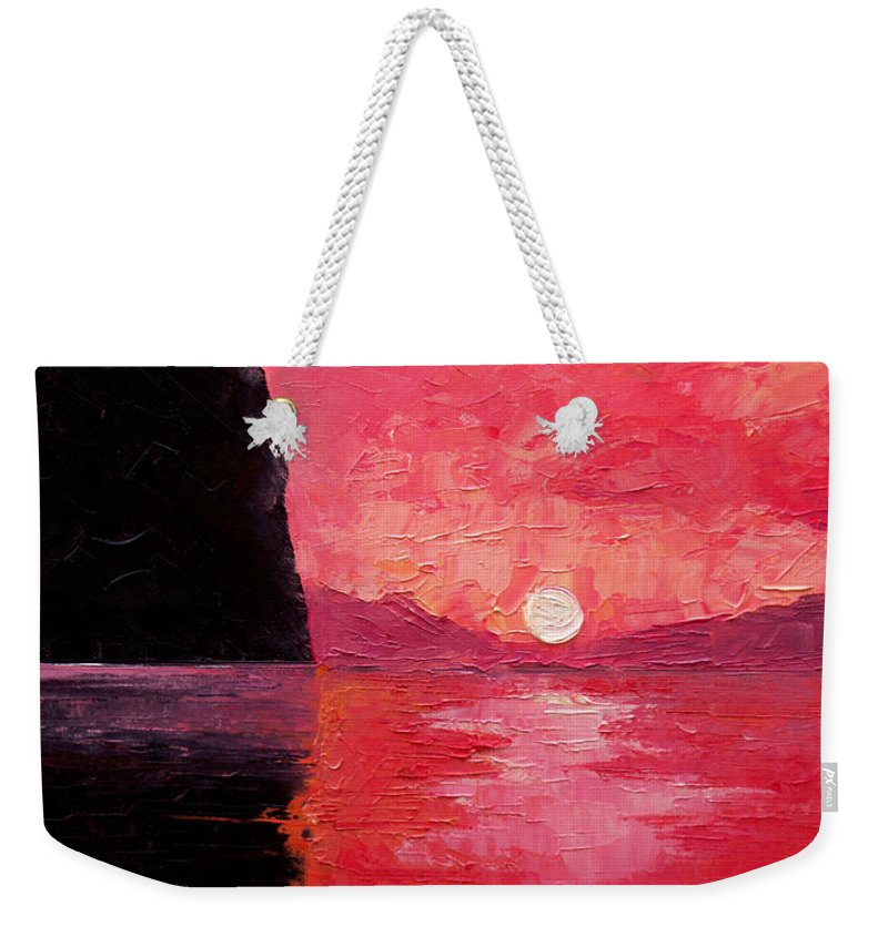 Landscape Weekender Tote Bag featuring the painting Seaside Sunset by Sergey Bezhinets