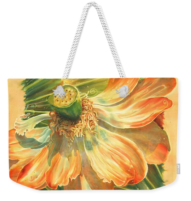 Flower Weekender Tote Bag featuring the painting Season's End by Deborah Younglao