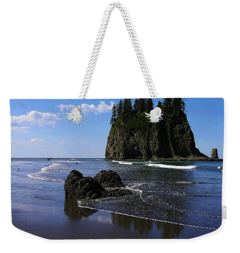 Seastack Weekender Tote Bag featuring the photograph Seastack by Ingrid Smith-Johnsen
