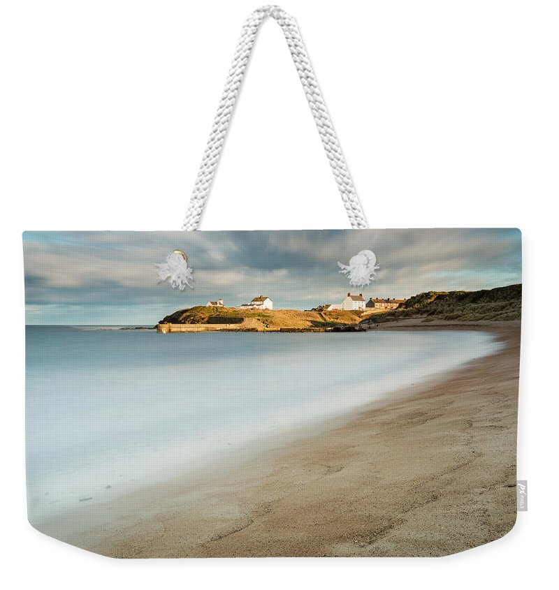 Northumberland Weekender Tote Bag featuring the photograph Seaton Sluice In Smooth Water by David Head