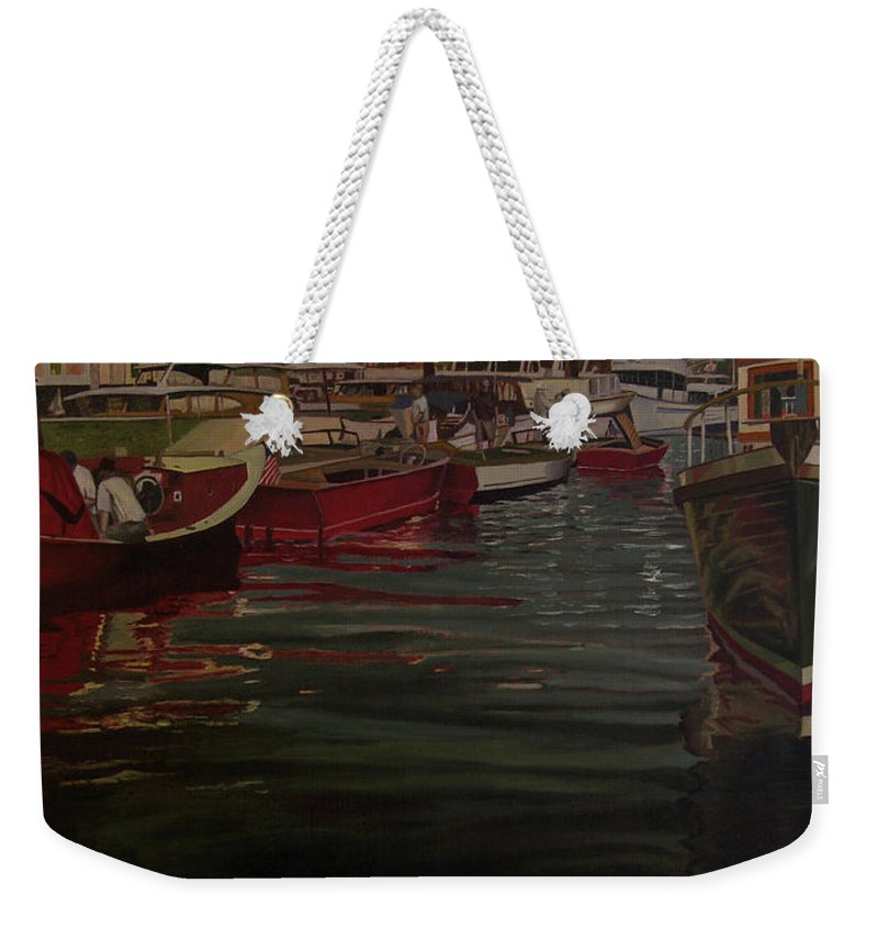 Seattle Boats Show Weekender Tote Bag featuring the painting Seattle Boat Show by Thu Nguyen