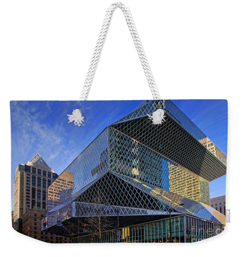 Seattle Weekender Tote Bag featuring the photograph Seattle Library by Inge Johnsson