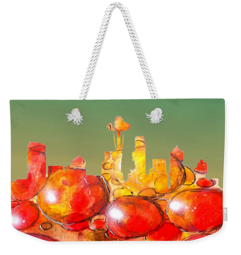 Seattle Weekender Tote Bag featuring the painting Seattle Over Cells - Marcello Cicchini by Marcello Cicchini