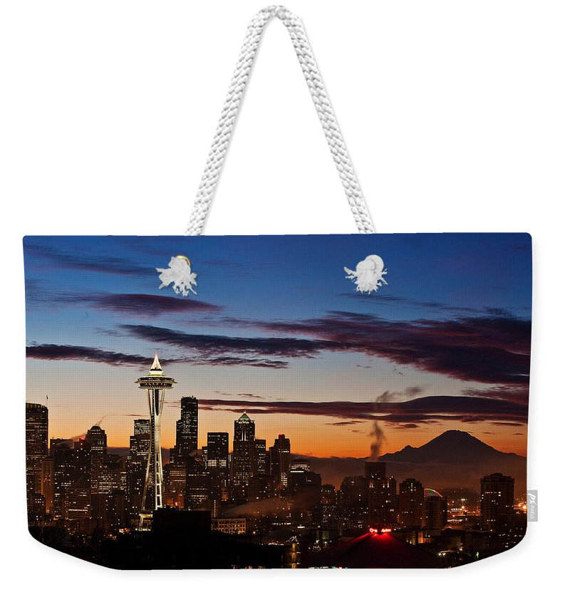Seattle Weekender Tote Bag featuring the photograph Seattle Sunrise by Mike Reid