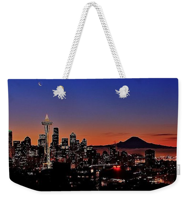 Seattle Weekender Tote Bag featuring the photograph Seattle Sunrise Panorama by Benjamin Yeager