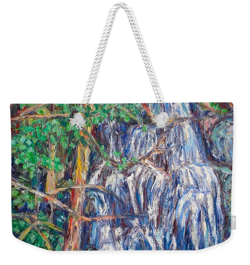 Waterfall Weekender Tote Bag featuring the painting Secluded Waterfall by Kendall Kessler