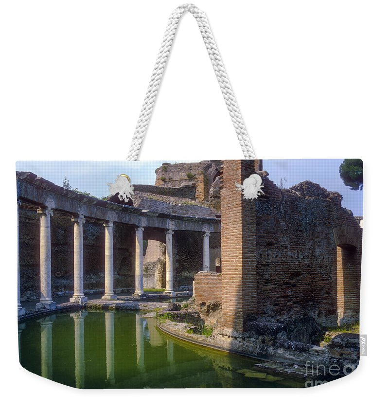 Hadrian Villa Ruin Ruins Pond Ponds Reflection Reflections Water Structure Structures Building Building Column Columns Architecture Hadrian's Villa Roman Architecture Cityscape Cityscapes Tivoli Italy City Cities Cityscape Cityscapes Weekender Tote Bag featuring the photograph Second Century Villa Of Emperor Hadrian by Bob Phillips
