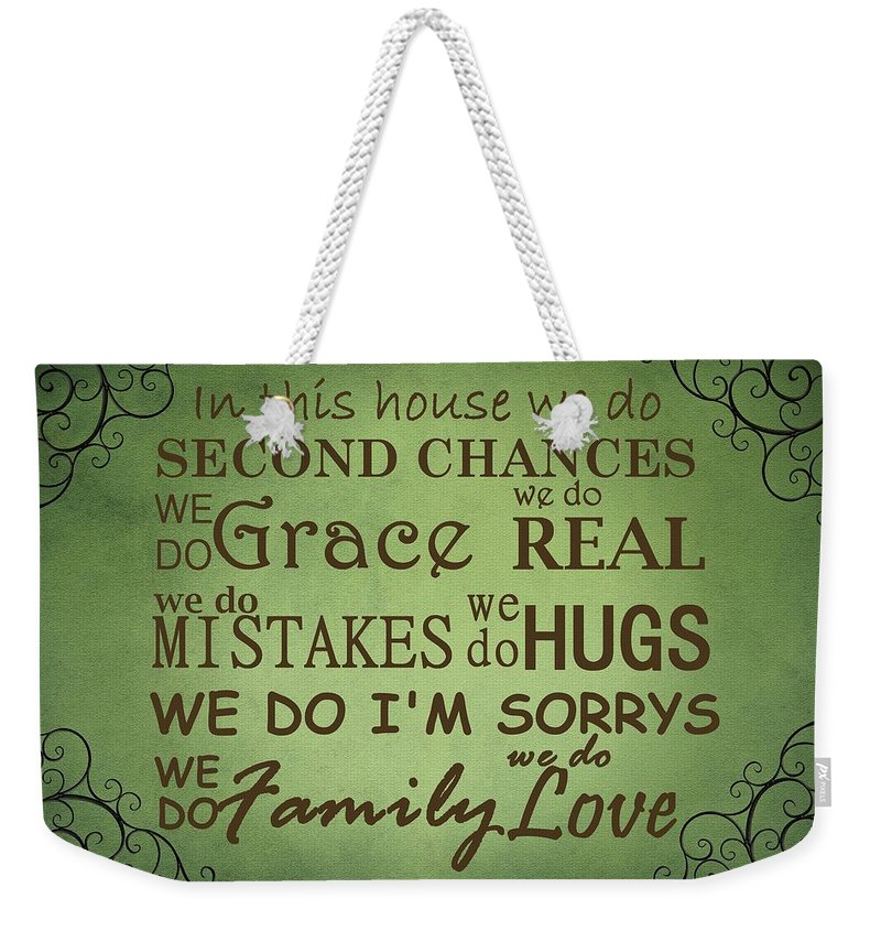 House Weekender Tote Bag featuring the digital art Second Chances In This House by Movie Poster Prints