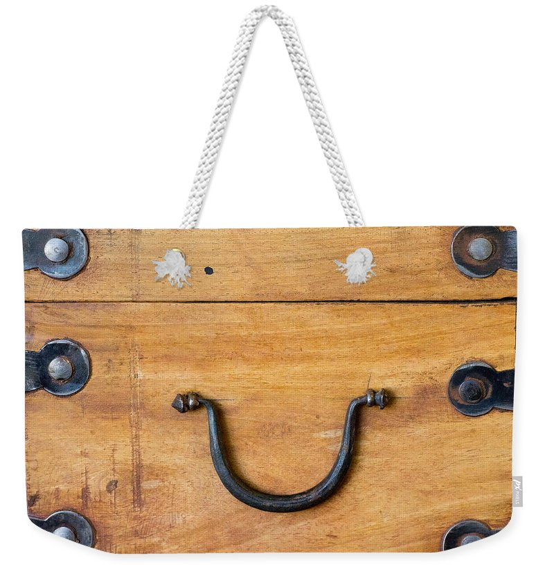 Box Weekender Tote Bag featuring the photograph Secret Ancient Wooden Box by Douglas Barnett
