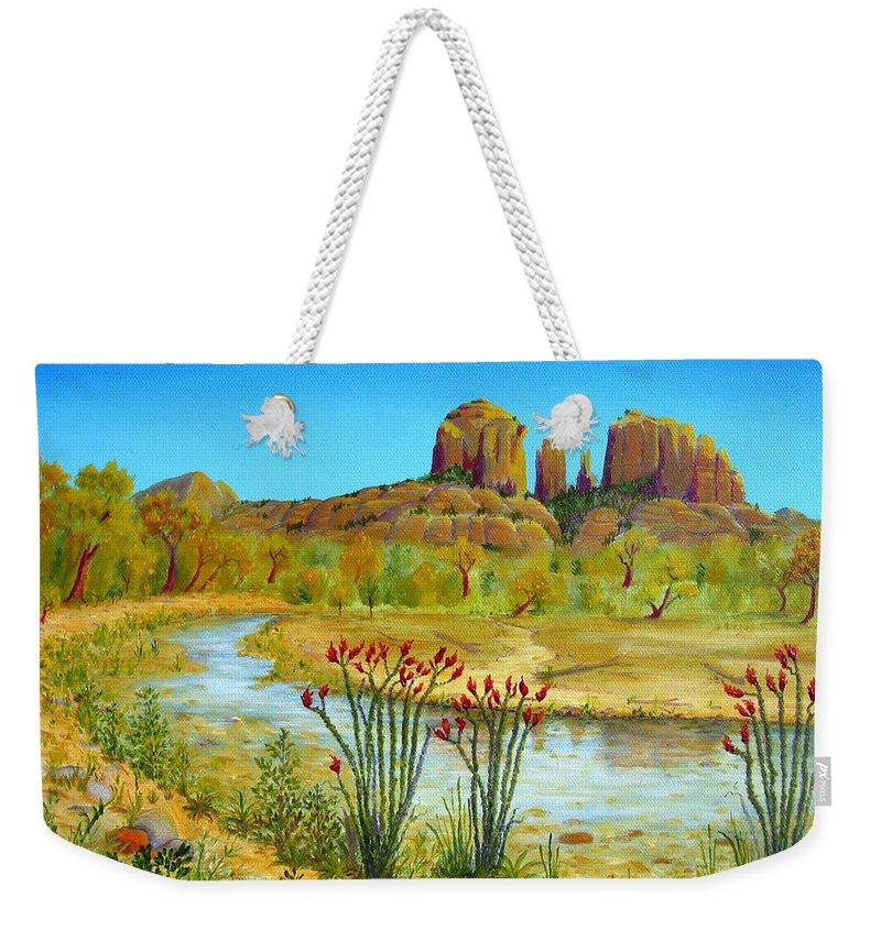 Sedona Weekender Tote Bag featuring the painting Sedona Arizona by Jerome Stumphauzer