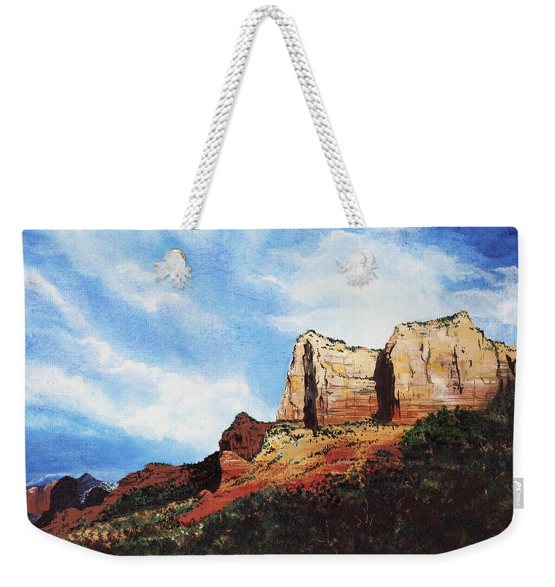 Sedona Arizona Weekender Tote Bag featuring the painting Sedona Mountains by Mary Palmer