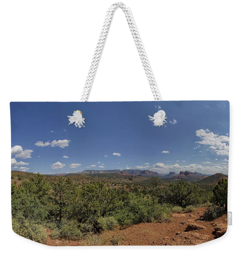 Panorama Weekender Tote Bag featuring the photograph Sedona Panorama In 5 Pictures by Angela Stanton
