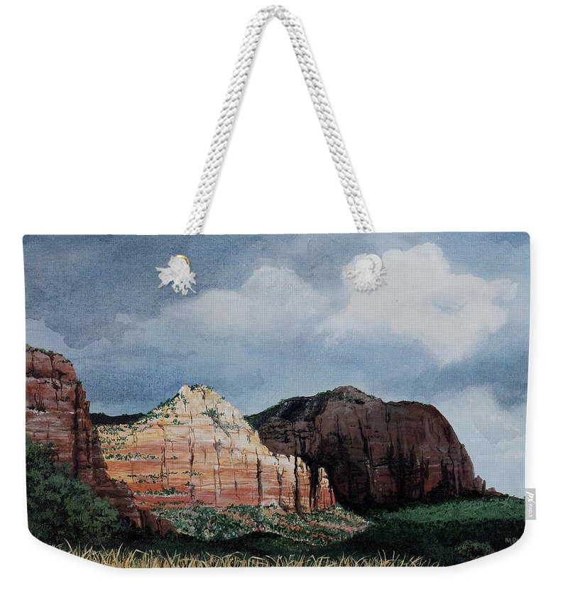 Sedona Arizona Weekender Tote Bag featuring the painting Sedona Storm by Mary Palmer