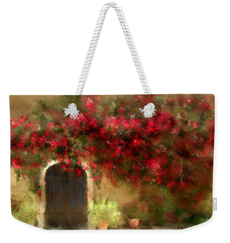 Flowers Weekender Tote Bag featuring the painting The Bougainvillea's Of Sedona by Colleen Taylor