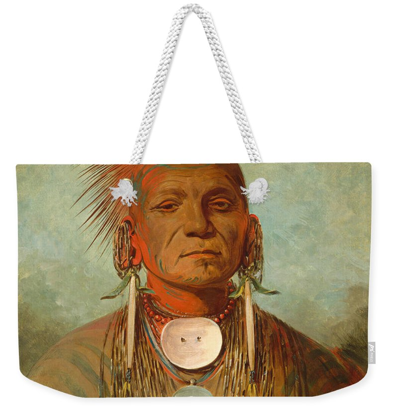 Chief Weekender Tote Bag featuring the painting See non ty a an Iowa Medicine Man by George Catlin
