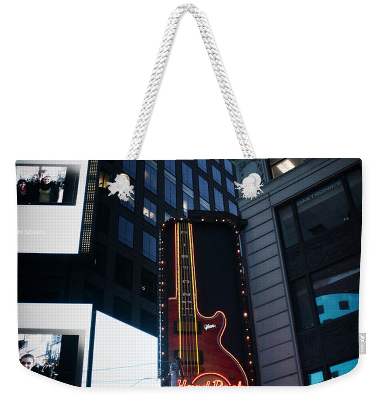 Times Square Weekender Tote Bag featuring the photograph See The Show by Teresa Mucha