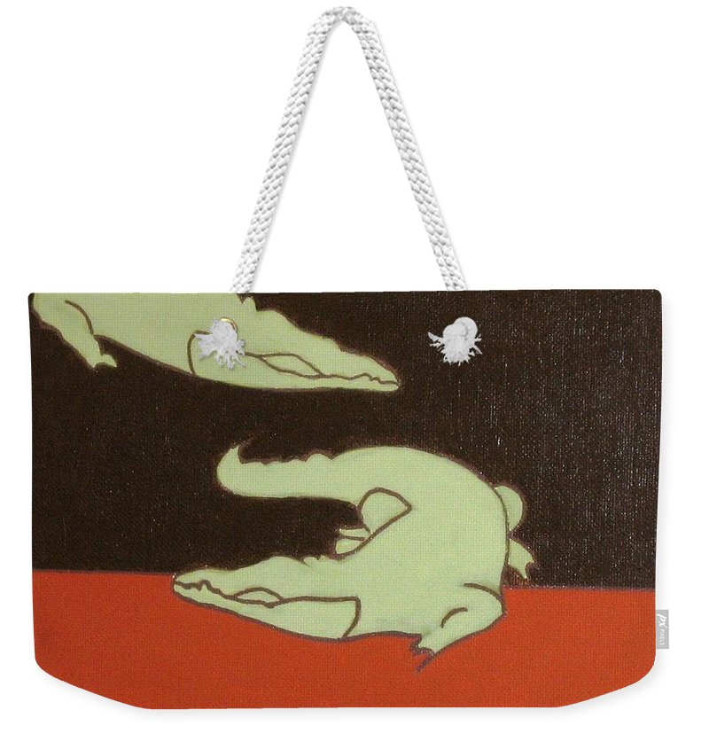 Kids Art Weekender Tote Bag featuring the painting See You Later Alligator... by Graciela Castro