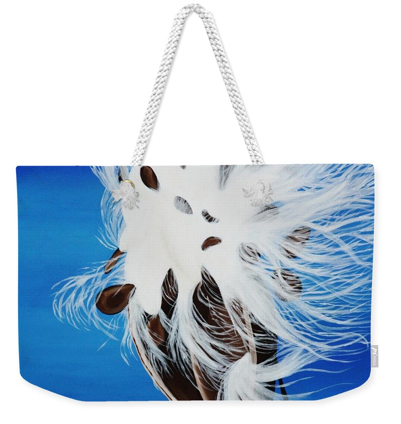 Seed Pod Weekender Tote Bag featuring the painting Milkweed Pod by Janell R Colburn