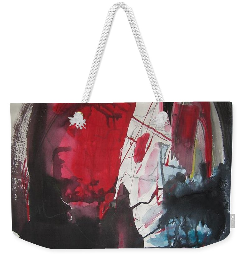 Red Paintings Weekender Tote Bag featuring the painting Seem To Happen Suddenly Original Abstract Colorful Landscape Painting For Sale Red Blue Green by Seon-Jeong Kim