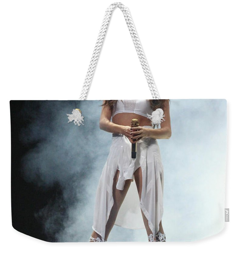 Selena Gomez Weekender Tote Bag featuring the photograph Selena Gomez-8648 by Gary Gingrich Galleries