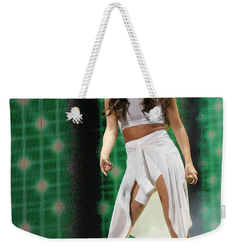 Selena Gomez Weekender Tote Bag featuring the photograph Selena Gomez-8678-1 by Gary Gingrich Galleries