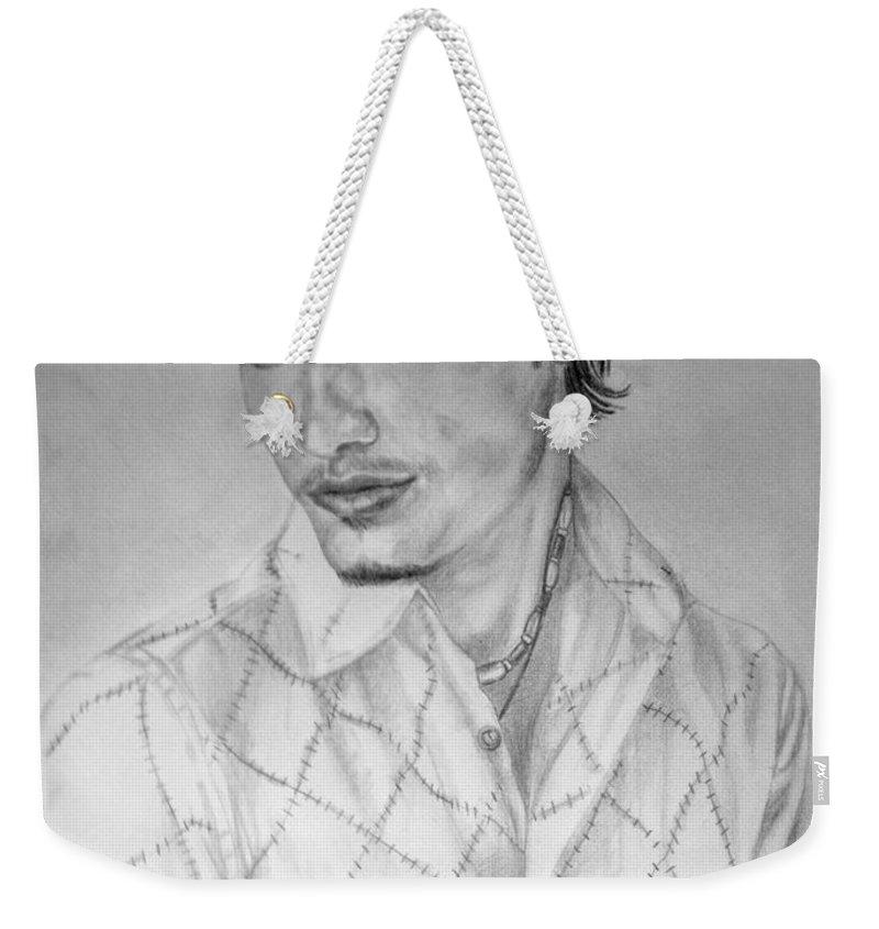Portrait Weekender Tote Bag featuring the drawing Self Portrait by Alban Dizdari