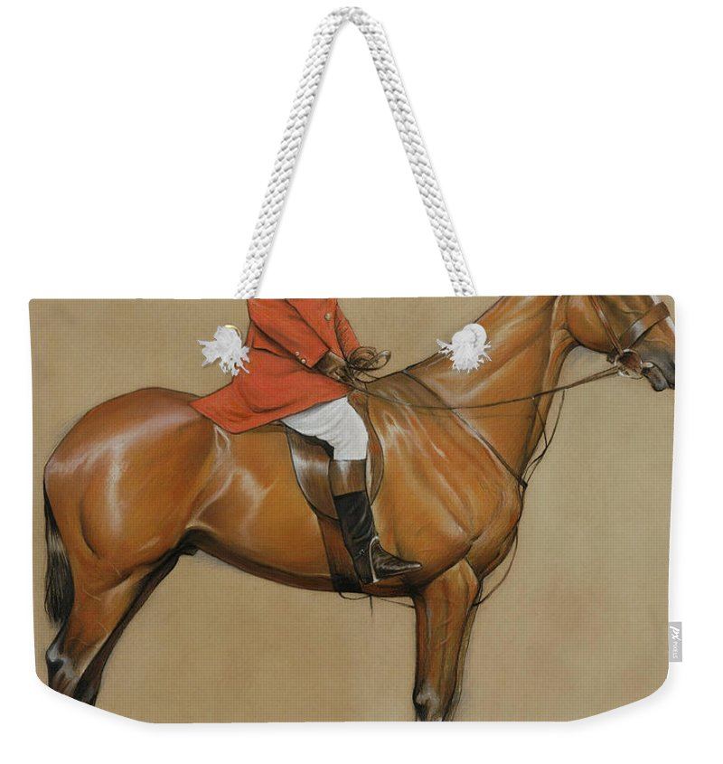 Male; Artist; Painter; Mounted; Riding; Horse; Equestrian; Horseback; Hunter; Hunting; Costume; Dress; Huntsman; Red Coat; Jacket; Boots; Breeches; Brown; Chesnut; Jodhpurs; Helmet; Drawing Weekender Tote Bag featuring the painting Self Portrait by Cecil Charles Windsor Aldin