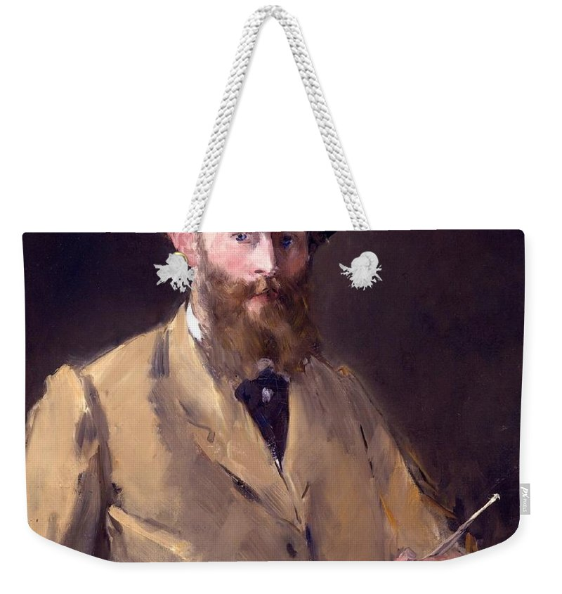 1879 Weekender Tote Bag featuring the painting Self Portrait With A Palette by Edouard Manet