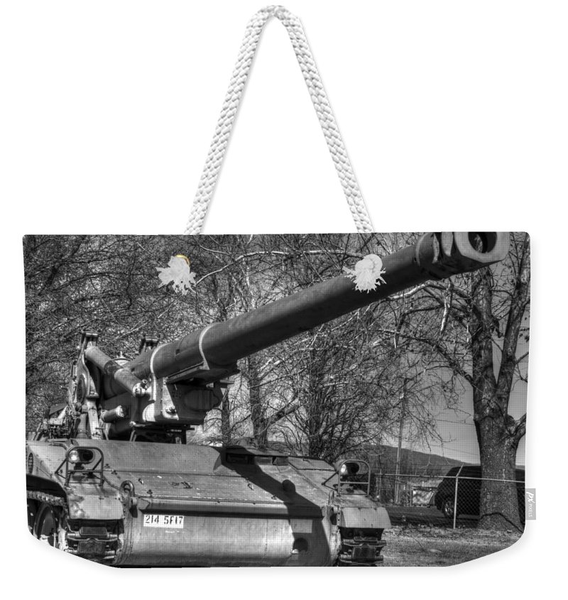 Hdr Weekender Tote Bag featuring the photograph Self Propelled Gun by John Straton