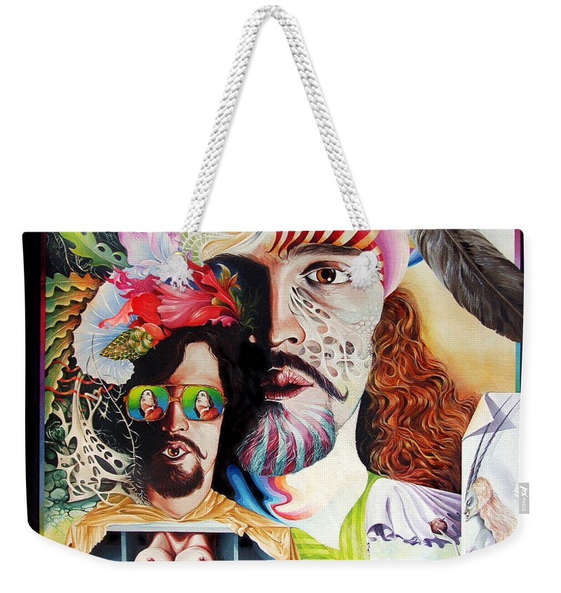 Surrealism Weekender Tote Bag featuring the painting Selfportrait With The Critical Eye by Otto Rapp