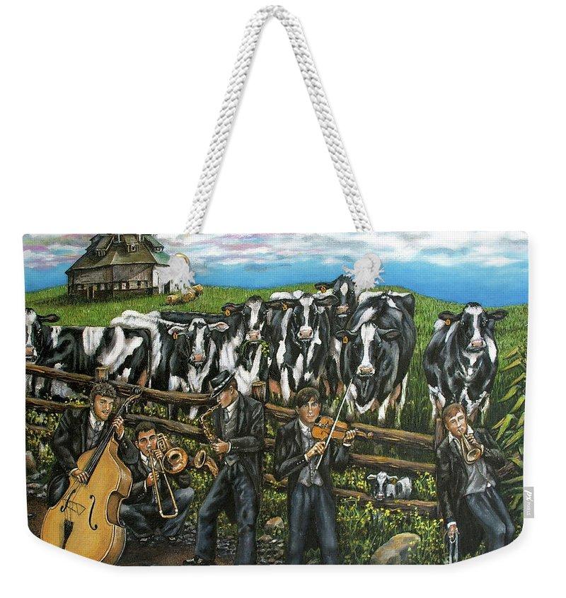 Linda Simon Weekender Tote Bag featuring the painting Semi-formal by Linda Simon