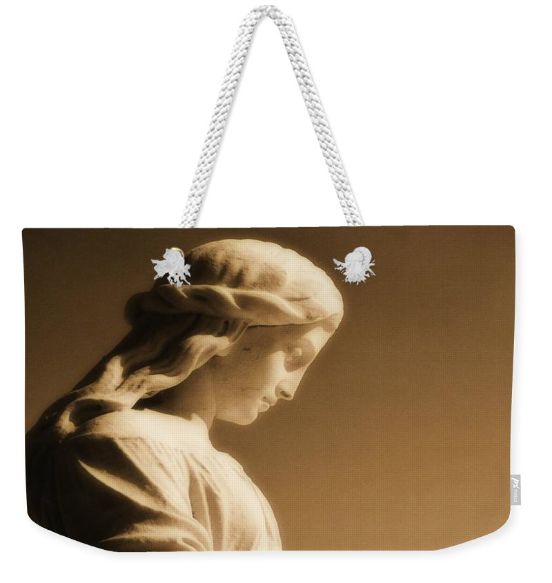 Brown Weekender Tote Bag featuring the photograph Sepia Angel Dream by Gothicrow Images