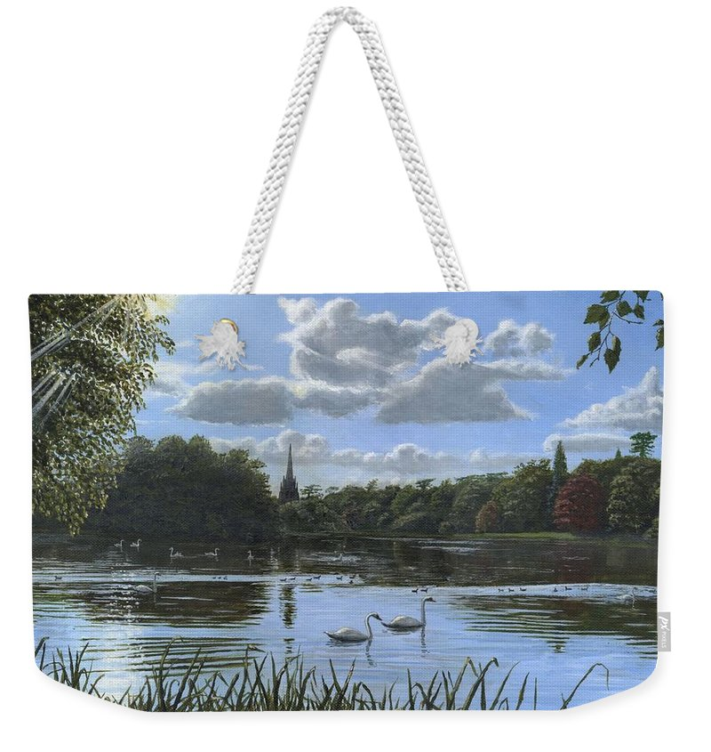 Landscape Weekender Tote Bag featuring the painting September Afternoon In Clumber Park by Richard Harpum