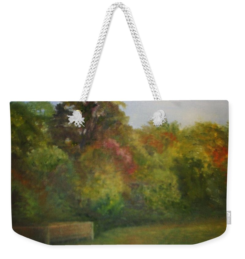 September Weekender Tote Bag featuring the painting September at Smithville Park by Sheila Mashaw