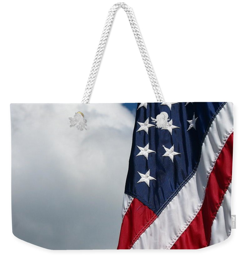 Art For The Wall...patzer Photography Weekender Tote Bag featuring the photograph September Flag by Greg Patzer