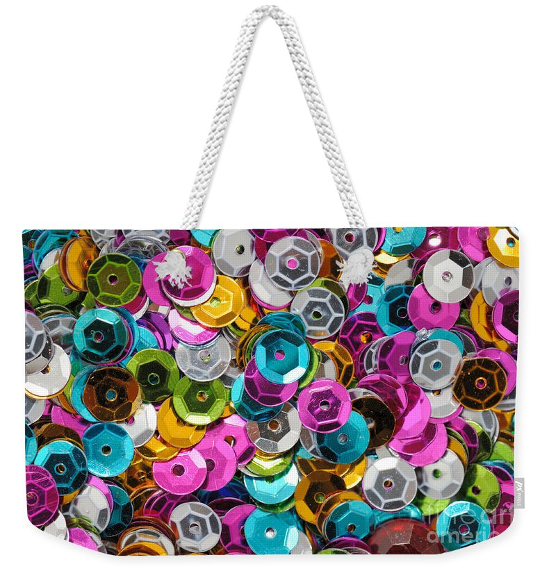 Sequin Weekender Tote Bag featuring the photograph Sequins Abstract by Grigorios Moraitis