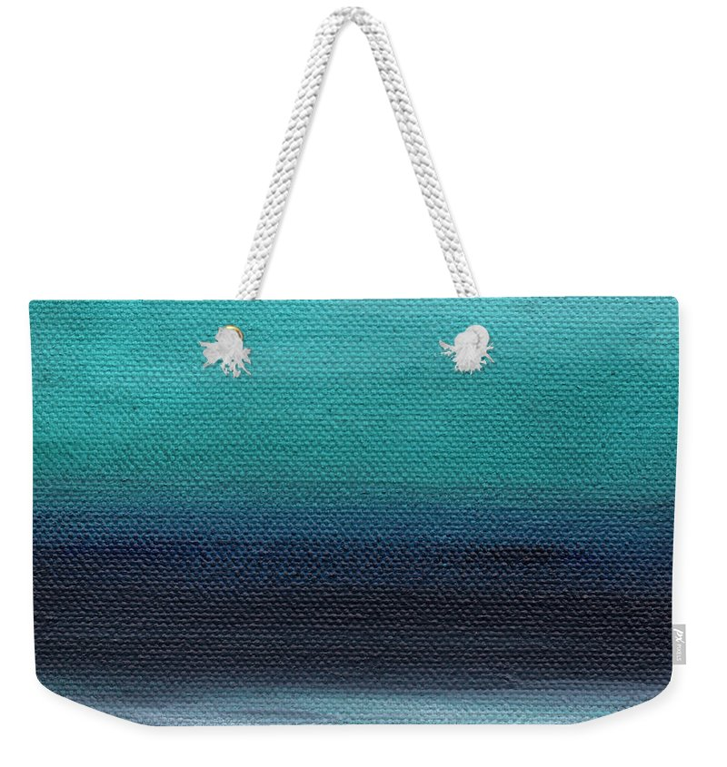 Beach Weekender Tote Bag featuring the painting Serenity- Abstract Landscape by Linda Woods