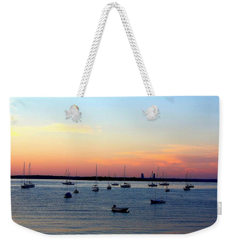 Sunsets Weekender Tote Bag featuring the photograph Serenity At The Bay by Dora Sofia Caputo Photographic Design and Fine Art
