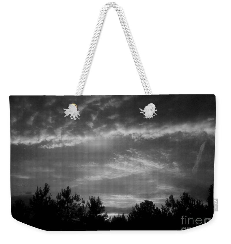 Serenity-bw Weekender Tote Bag featuring the photograph Serenity - Bw by Maria Urso