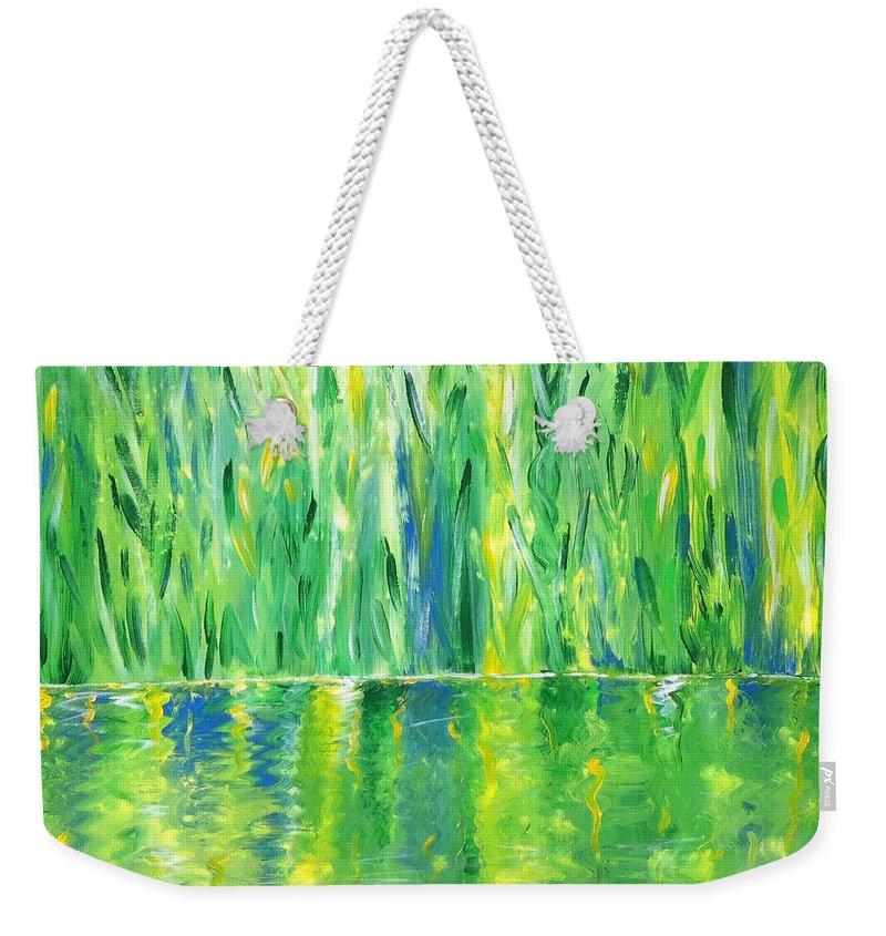 Nature Weekender Tote Bag featuring the painting Serenity In Green by Donna Blackhall