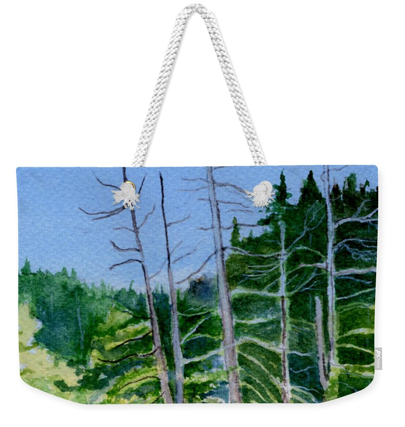 Landscape Weekender Tote Bag featuring the painting Serenity On The Lake by Brenda Owen
