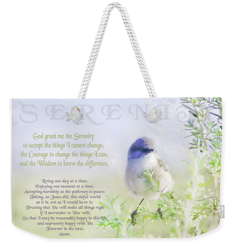 Animals Weekender Tote Bag featuring the photograph Serenity Prayer by Holly Kempe