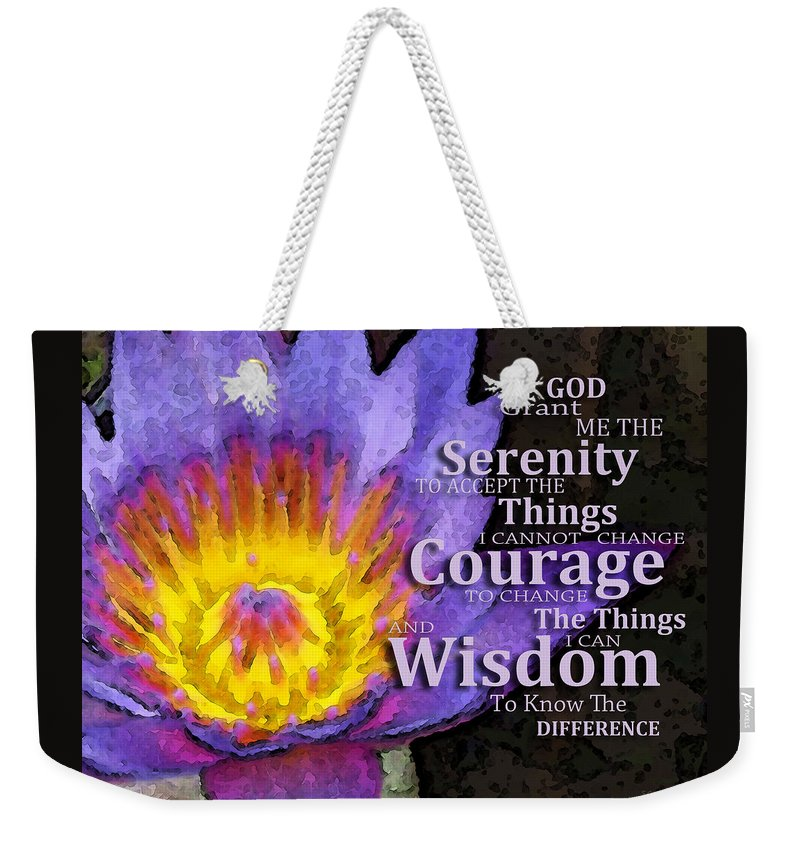 Serenity Prayer Weekender Tote Bag featuring the painting Serenity Prayer  With Lotus Flower By Sharon Cummings c9ef8597ed6e3